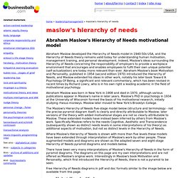 Abraham Maslow's Hierarchy of Needs and diagrams of Maslow's motivational theory - pyramid diagrams of Maslow's theory