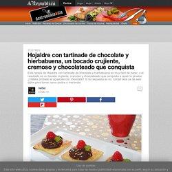 Hojaldre con tartinade de chocolate y hierbabuena, un bocado crujiente, cremoso y chocolateado que conquista