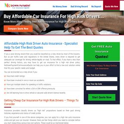 High Risk Auto Insurance, Cheap Car Insurance for High Risk Drivers