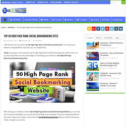 Top 50 High Page Rank Social Bookmarking Sites 2015