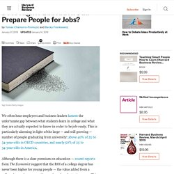Does Higher Education Still Prepare People for Jobs?