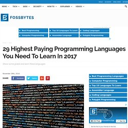 29 Highest Paying Programming Languages You Need To Learn In 2017