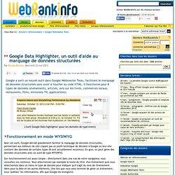 Google Data Highlighter, outil de marquage de données structurées