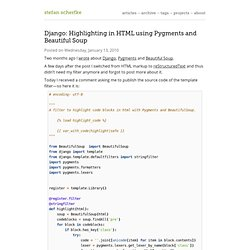 Django: Highlighting in HTML using Pygments and BeautifulSoup – Stefan Scherfke