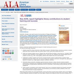 New ACRL report highlights library contributions to student learning and success