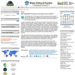 EEA Highlights Findings of European Year of Water - Climate Change Policy & Practice