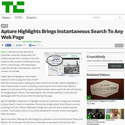 Apture Highlights Brings Instantaneous Search To Any Web Page