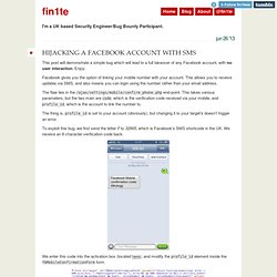 Hijacking a Facebook Account with SMS