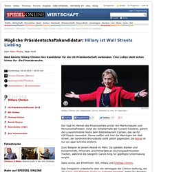Hillary Clinton: Wall Street Problem für Kandidatur