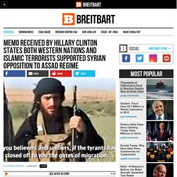 Hillary Clinton Had Secret Memo on Obama Admin 'Support' for ISIS
