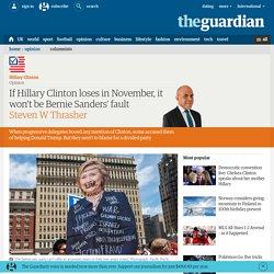 If Hillary Clinton loses in November, it won't be Bernie Sanders' fault