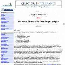 HINDUISM: The world's third largest religion