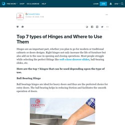 Top 7 types of Hinges and Where to Use Them