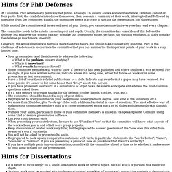 Hints for PhD defenses