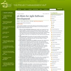 26 Hints for Agile Software Development