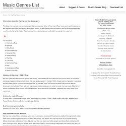 Hip-Hop/Rap Music Genres