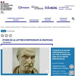 Étude de la Lettre d'Hippocrate à Cratevas