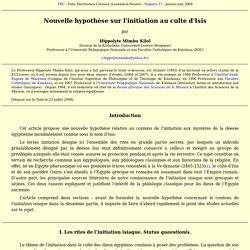 Hippolyte Mimbu Kilol - Nouvelle hypothèse sur l'initiation au culte d'Isis