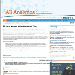 Hire and Manage a Great Analytics Team
