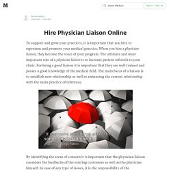 Hire Physician Liaison Online