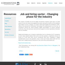 Job And Hiring Sector-Changing Phase For The Industry - Cornerstone India