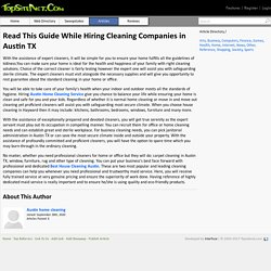 Read This Guide While Hiring Cleaning Companies in Austin TX