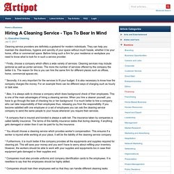 Hiring A Cleaning Service - Tips To Bear In Mind