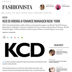 KCD Is Hiring A Finance Manager New  York