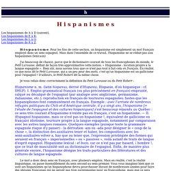 Hispanismes (1)