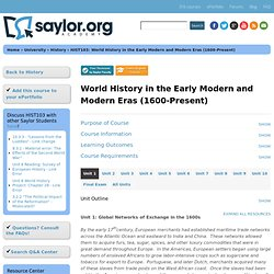 HIST103: World History in the Early Modern and Modern Eras (1600-Present)