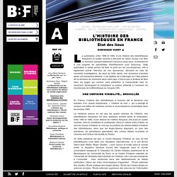 bbf. L'histoire des bibliothèques en France