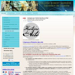 HISTOIRE DES ARTS - Site du collège de Sauveterre de Guyenne