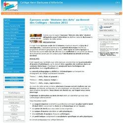 """Épreuve orale """"Histoire des Arts"""" au Brevet des Collèges - Session 2011 - Collège Henri Barbusse d'Alfortville"""