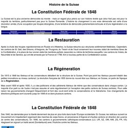 Histoire de la Suisse: La Constitution Fédérale (1848)