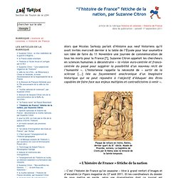 """""""l'histoire de France"""" fétiche de la nation, par Suzanne Citron"""