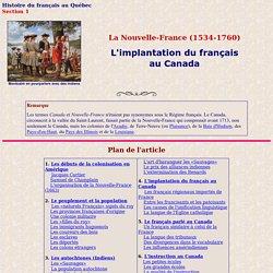 Histoire du français au Québec: colonie du Canada