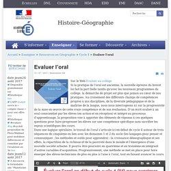 Histoire-géographie - Evaluer l'oral