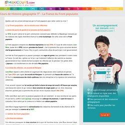 Cours de Histoire-géographie 3e - La France du Front populaire