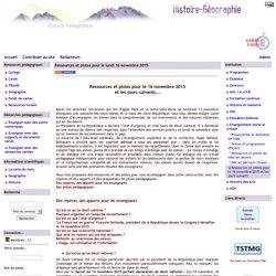Histoire Géographie - Grenoble - Ressources et pistes pour le lundi 16 novembre 2015