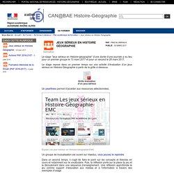 CAN@BAE Histoire-Géographie - Jeux sérieux en Histoire Géographie