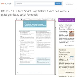 FICHE N 11 Le Père Goriot : une histoire à vivre de l intérieur grâce au réseau social Facebook