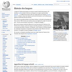 Histoire des langues