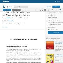 Histoire de la littérature au Moyen Age en France