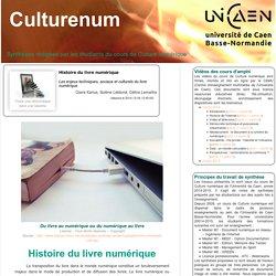 Histoire du livre numérique (Culturenum - U. Caen - Notes de synthèses par les étudiant-e-s)