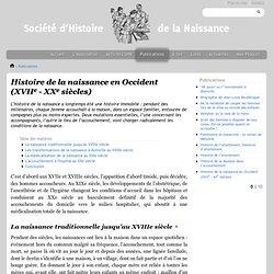 Société d'Histoire de la Naissance - Histoire de la naissance en Occident (XVIIe - XXe siècles)