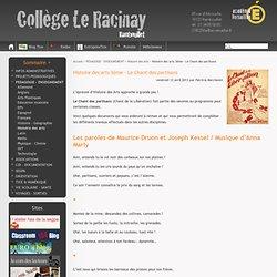 """Fiche HDA """"Chant des partisans"""" - Collège Le Racinay de Rambouillet"""