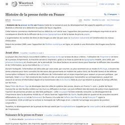 Histoire de la presse écrite en France