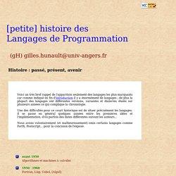 [petite] histoire des Langages de Programmation ; (gH) : gilles Hunault.