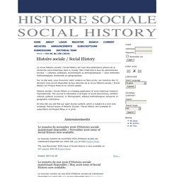 Histoire sociale / Social History