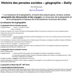 Histoire des pensées sociales – géographie – Bailly